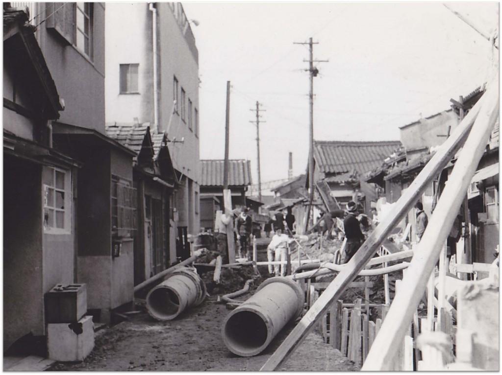 Drainage being installed in Sumiyoshi