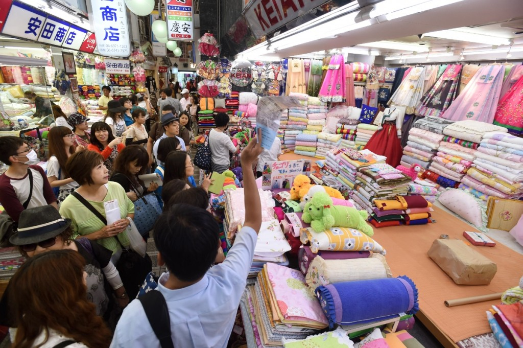 Shoppers in Tsuruhashi international market