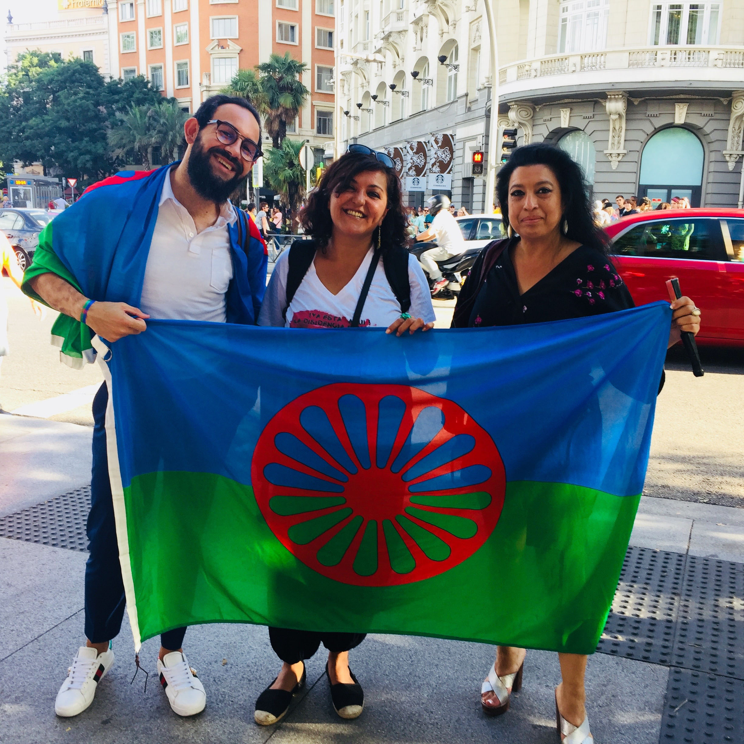(L-R) Fernando, Celia and Aurora from Ververipen, a Spanish gypsy collective, taking part in the Critical Pride march.