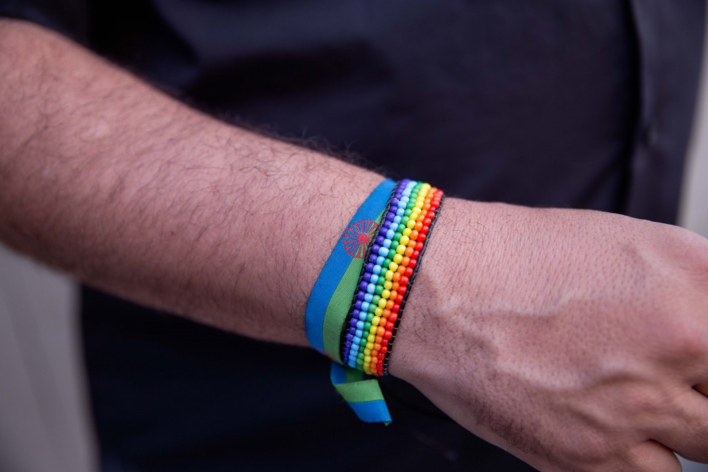 Romani and LGBTQ solidarity wristbands. Photo by Bex Wade